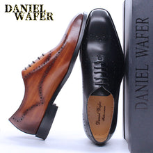 Load image into Gallery viewer, LUXURY ITALIAN OXFORDS GENUINE LEATHER SHOES BROGUE FASHION WING TIP BLACK BROWN LACE UP WEDDING OFFICE DRESS MEN FORMAL SHOES - DivaJean