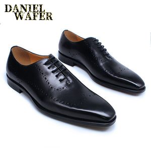 LUXURY ITALIAN OXFORDS GENUINE LEATHER SHOES BROGUE FASHION WING TIP BLACK BROWN LACE UP WEDDING OFFICE DRESS MEN FORMAL SHOES - DivaJean