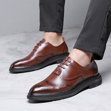 Load image into Gallery viewer, Genuine Leather Dress Men Shoes Lace Up Italy Retro Business Wedding Formal Flats Shoes For Men - DivaJean