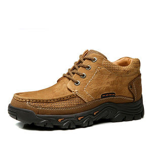 Men Casual Leather Shoes Men's Keep Warm Shoes Work Safety Shoes Winter Waterproof Ankle Botas New First Layer Cowhide Sneakers - DivaJean