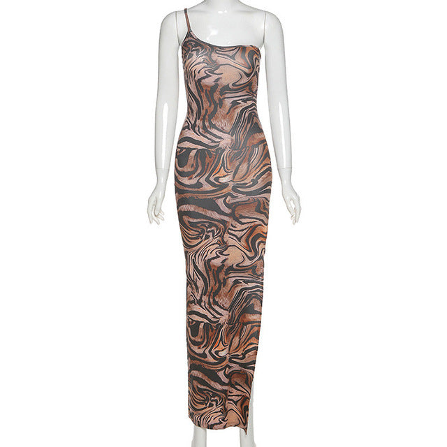 Hugcitar 2020 tiger print one-shoulder sexy slit maxi dress summer women fashion streetwear outfits party wear - DivaJean