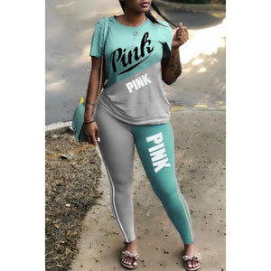Plus Size 2 Piece Set Woman Tracksuit Casual PINK Letter Print Sexy Sweat Suits Short Sleeve Tee Shirt Top Skinny Pants XXXL - DivaJean