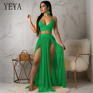 YEYA Sexy Deep V-neck Sleeveless Two Pieces Sets Chiffon Dress Elegant Hollow Out High Split Maxi Dress Summer Boho Party Wear - DivaJean