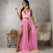 Load image into Gallery viewer, YEYA Sexy Deep V-neck Sleeveless Two Pieces Sets Chiffon Dress Elegant Hollow Out High Split Maxi Dress Summer Boho Party Wear - DivaJean