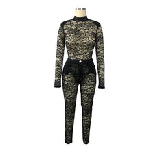 Load image into Gallery viewer, Sexy Lace Women Two Pieces Set See Throgh Long Sleeve O-neck Crop Top +Long Pants Party Night Clubwear Outfit - DivaJean