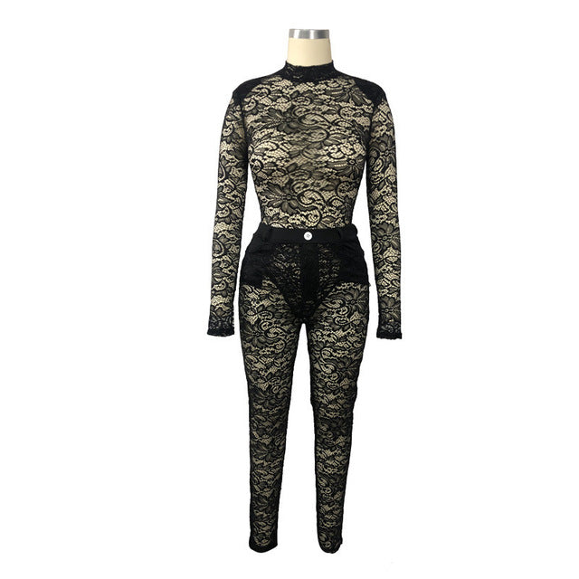 Sexy Lace Women Two Pieces Set See Throgh Long Sleeve O-neck Crop Top +Long Pants Party Night Clubwear Outfit - DivaJean