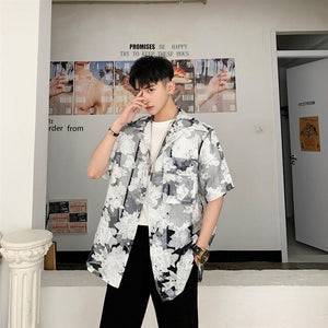 EWQ / men's wear Homemade sexy transparent half-sleeve shirt male's organza loose 2020 summer tide design tops large size 9Y2749 - DivaJean
