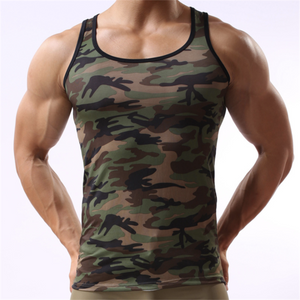 Men's Summer Undershirts Camouflage Print Sleeveless Cotton Vest Men Casual Slim Fits Cotton Tees Fashionable Male Sexy Wear - DivaJean