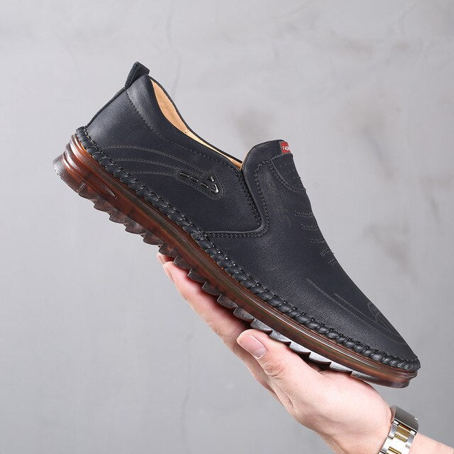 2020 New Men Microfiber Leather Shoes 38-44 Anti-slip Soft Tendon Bottom Outsole Man Casual Bussiness Youth Leather Loafers - DivaJean