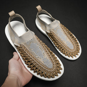Men Summer Shoes Sandals Men's Mesh Sandals Hollow Breathable Flip Flops Fashion Beach Slippers - DivaJean