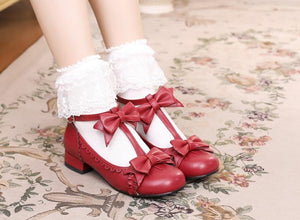 Lolita Shoes Cosplay Kawaii Shoes Anime Sweet Lolita Shoes Tea Party High Heel Princess Bow Mary Jane Loli Shoes - DivaJean