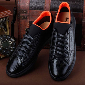ourui true Lizard skin male Casual men shoes black Genuine Lizard leather men board shoes Men shoes - DivaJean