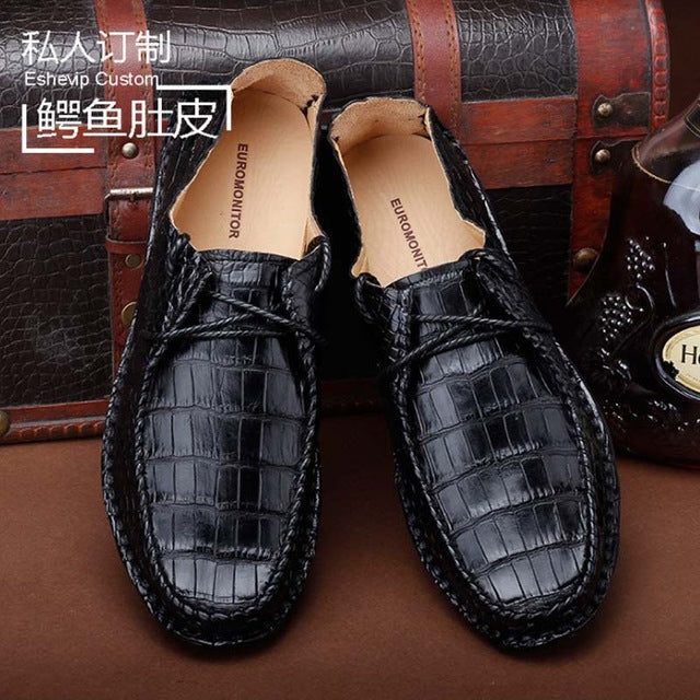 ourui new arrival true crocodile leather  male  leisure crocodile leather men shoes  black  leisure  Men's shoes - DivaJean