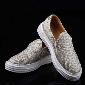 ourui  new  true  Python skin  male  board shoes  white  Genuine Python leather  White shoes men snake shoes - DivaJean