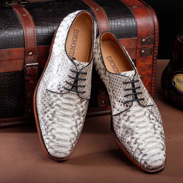 ourui Real python leather business formal leather men shoes white lacing simple leather single shoe man men snake shoes - DivaJean