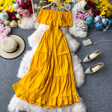 Load image into Gallery viewer, Sexy Off Shoulder Beach Dress Women Slim High Waist Summer Yellow Midi Dresses Elegant Ladies Elegant Party Dress Vestidos Mujer - DivaJean