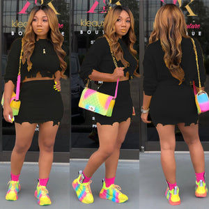 Neon Yellow Sexy Two Piece Set Dress For Women Long Sleeve Knitted Sweater Mini Dress Autumn Winter Hole High Waist Sheath Dress - DivaJean