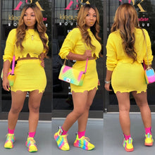 Load image into Gallery viewer, Neon Yellow Sexy Two Piece Set Dress For Women Long Sleeve Knitted Sweater Mini Dress Autumn Winter Hole High Waist Sheath Dress - DivaJean