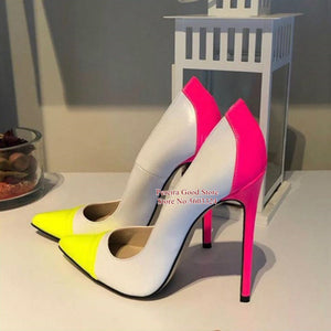 Sexy Pointed Toe Patchwork Dress Shoes Yellow Black Pink Multicolor Leather Stiletto Heel Shallow Pumps Slip-on Banquet Shoes - DivaJean
