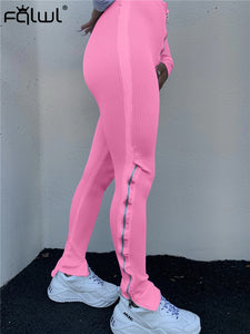 FQLWL Casual Ribbed Knitted Bodycon Pants Women Trousers Elastic High Waist Pants Female Streetwear Zipper Pink Sexy Sweat Pants - DivaJean