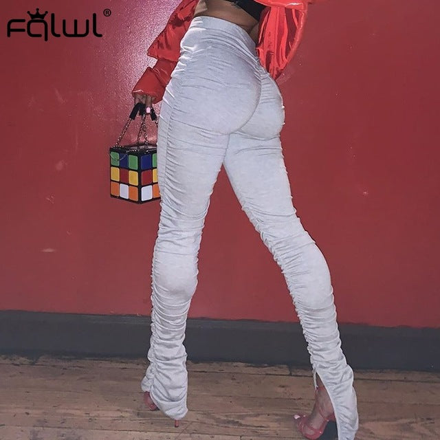 FQLWL Flare Ruched Stacked Leggings Pants Women Trousers Elastic High Waist Sweat Pants Women Wide Leg Sexy Bodycon Pants Female - DivaJean