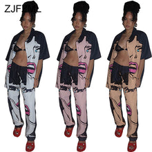 Load image into Gallery viewer, Sexy Character Print Two Piece Set Women Tracksuit Turn Down Collar Short Sleeve Shirt And High Waist Straight Pant Sweat Suits - DivaJean