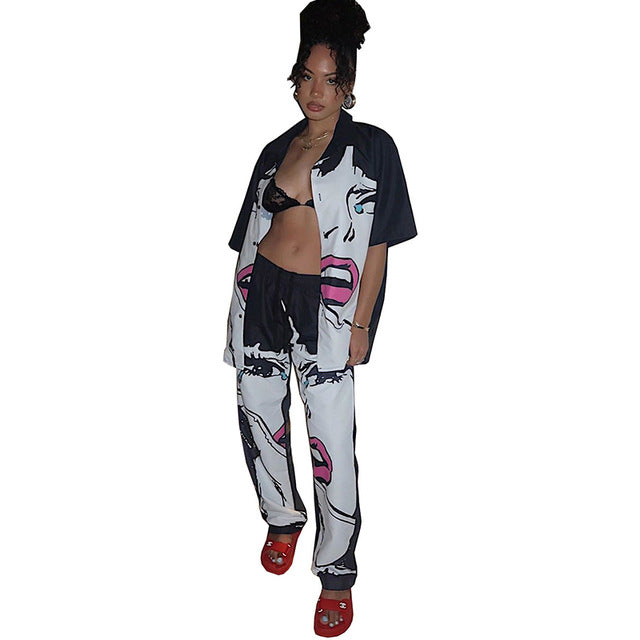 Sexy Character Print Two Piece Set Women Tracksuit Turn Down Collar Short Sleeve Shirt And High Waist Straight Pant Sweat Suits - DivaJean
