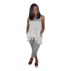 Black&White Striped Print Two Piece Set Tracksuit Women Sleeveless Loose Long Tops And Pencil Leggings Sweat Suits Casual Outfit - DivaJean
