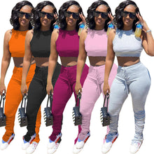 Load image into Gallery viewer, 2 Piece Sets Women Outfits Summer 2020 Sweat Suits Sexy Crop Top and Pants Casual Party Stretch Bodycon Two Piece Matching Set - DivaJean