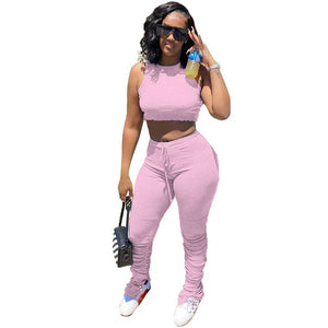2 Piece Sets Women Outfits Summer 2020 Sweat Suits Sexy Crop Top and Pants Casual Party Stretch Bodycon Two Piece Matching Set - DivaJean