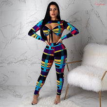 Load image into Gallery viewer, Sexy 2 Piece Set Women Tracksuit Long Sleeve Crop Top and Pants Sweat Suits Club Matching Outfits Fall Two Piece dancewear sets - DivaJean
