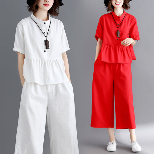 #0828 White Red Stand Collar Shirt Short Sleeves Split Joint Ruffles Top And Wide Leg Pants Casual 2 Piece Outfits For Women - DivaJean