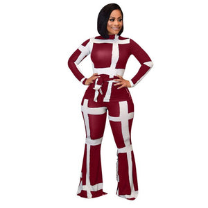 White Striped Print Casual Bandage Outfits Women Autumn Long Sleeve Top+Pants Suits Fashion 2019 Plus Size Black Red Clothes - DivaJean