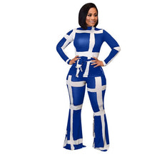 Load image into Gallery viewer, White Striped Print Casual Bandage Outfits Women Autumn Long Sleeve Top+Pants Suits Fashion 2019 Plus Size Black Red Clothes - DivaJean