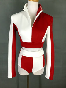 Red White Splicing Color Matching Suit Female Stand-collar Short Tops High Waist Shorts 2-Pieces Set Jazz Hip Hop Dance Outfits - DivaJean