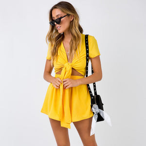 Two Piece Set Yellow White Red Solid Color Playsuits Beach Casual Short Pants Jumpsuit Rompers Sexy V Neck Overalls Bodysuit - DivaJean