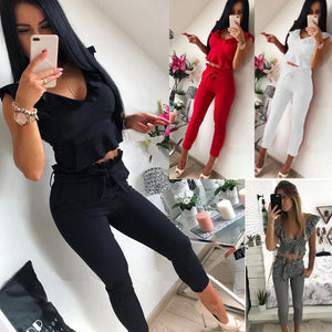 Summer Sexy Crop Top Black Skinny Pant Suits for Women  White Red V Neck Ruffle Fashion Two Piece Pant Set Outfits - DivaJean