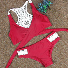 Load image into Gallery viewer, Bikini Red White Weaving Hollow Out Two Piece Swimsuit With Thong Brazilian High Waist Swimsuit Wear - DivaJean