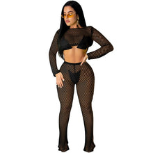 Load image into Gallery viewer, Echoine Sexy Mesh See Through Long Sleeve Beach 2 Pieces Sets Women Summer Crop Top Long Wide Leg Pants Sexy Club Outfits S-XXL - DivaJean