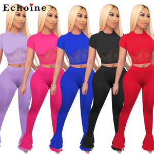 Women Two Piece Set Sheer Mesh Patchwork Homewear Short Sleeve Crop Tops Long Flare Pants Ruffles Leisure Tracksuit Summer New - DivaJean