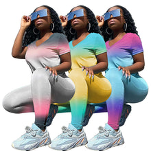 Load image into Gallery viewer, Casual Fashion Gradient Color Women Two Piece Set Short Sleeve Crop Top +Long Pants Sport Suit Jogging Tracksuit Women Summer Su - DivaJean