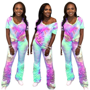 Fahion Stacked Pants Joggers Tie Dye Women Two Piece Set V-neck Crop Top +Long Pants Pleated Pants Summer Clothes For Women - DivaJean
