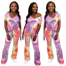Load image into Gallery viewer, Fahion Stacked Pants Joggers Tie Dye Women Two Piece Set V-neck Crop Top +Long Pants Pleated Pants Summer Clothes For Women - DivaJean