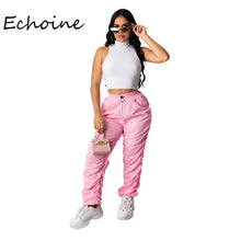 Load image into Gallery viewer, Sexy Women Two Pieces Set Crop Top + Long Pants Tracksuit Women Spring Summer Clothes For Women Outfits Pink Black Solid Color - DivaJean