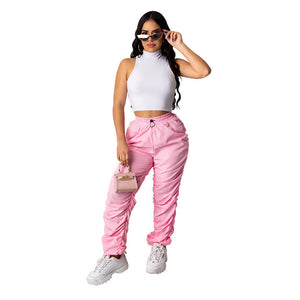 Sexy Women Two Pieces Set Crop Top + Long Pants Tracksuit Women Spring Summer Clothes For Women Outfits Pink Black Solid Color - DivaJean