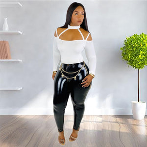 Casual Women Two Pieces Set Crop Top +Long Pants PU Pants Two Piece Set Women Sets For Women Solid Color - DivaJean