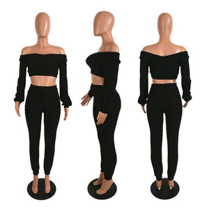 Sexy Slash Neck Women Two Pieces Set Crop Top +Long Pancil Pants tracksuit women V-backless Spring Summer Clothes Women - DivaJean