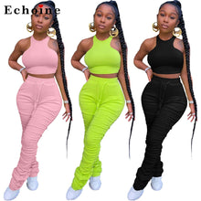 Load image into Gallery viewer, Women Solid Color Tight Vest Pleated Long Pencil Pants Suit Two-Piece Set Halter Sleeveless Crop Tops Lace Up Fitness Tracksuit - DivaJean