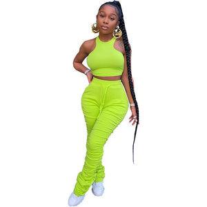 Women Solid Color Tight Vest Pleated Long Pencil Pants Suit Two-Piece Set Halter Sleeveless Crop Tops Lace Up Fitness Tracksuit - DivaJean