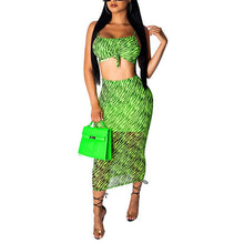 Load image into Gallery viewer, Sexy Mesh 2 Pieces Summer Set Outfit Women Sleeveless Backless Crop Top and Long Skirt with Inside Lining Casual Matching Sets - DivaJean